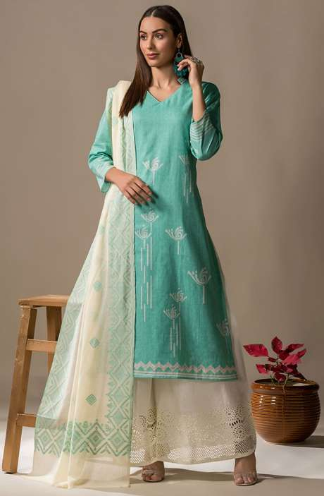 Cotton Printed Casual Salwar Kameez In Green - SON2363