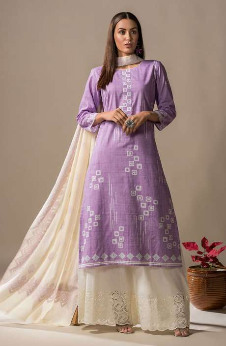 Cotton Printed Casual Salwar Kameez In Lilac - SON2364