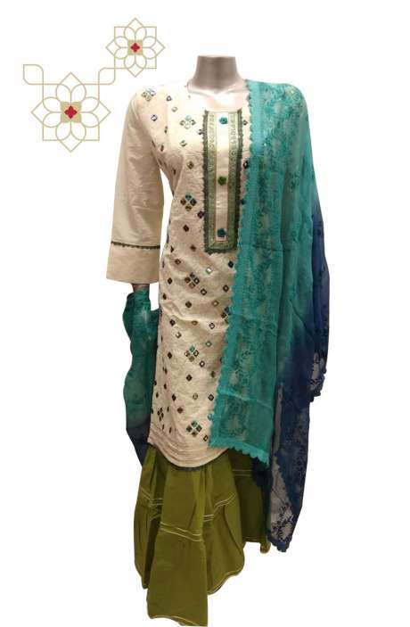 Semi-stitched Stylish Garara Suit Sets in Cream & Mehndi Green - SONU12617