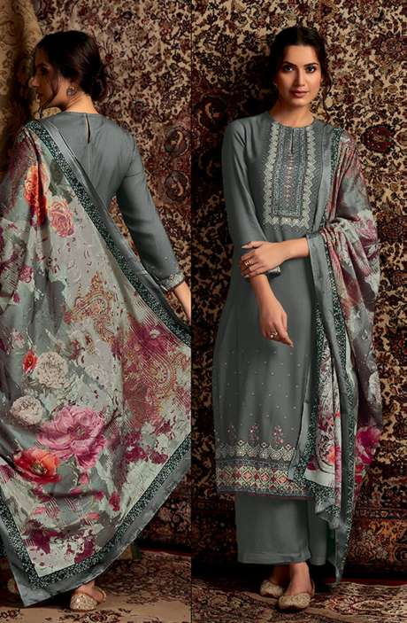 Spun Winterwear Digital Printed Unstitched Salwar Kameez In Olive - SOR201