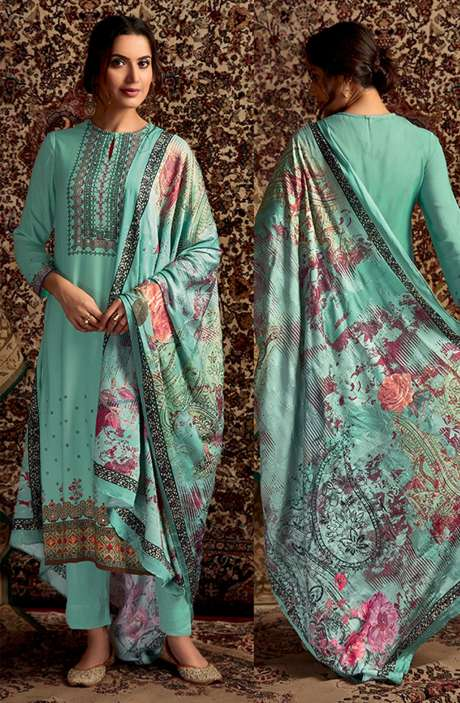 Spun Winterwear Digital Printed Unstitched Salwar Kameez In Sea Green - SOR222