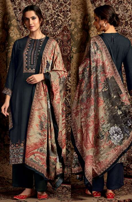 Spun Winterwear Digital Printed Unstitched Salwar Kameez In Charcoal Black - SOR229