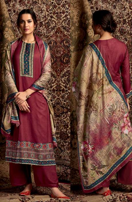 Spun Winterwear Digital Printed Unstitched Salwar Kameez In Maroon - SOR289
