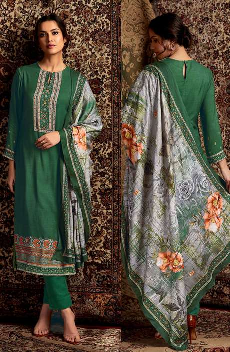 Spun Winterwear Digital Printed Unstitched Salwar Kameez In Bottle Green - SOR299