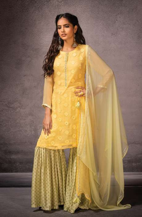 Semi-stitched Designer Exclusive Sharara Suit Set In Yellow Pista Green - SOR8414A