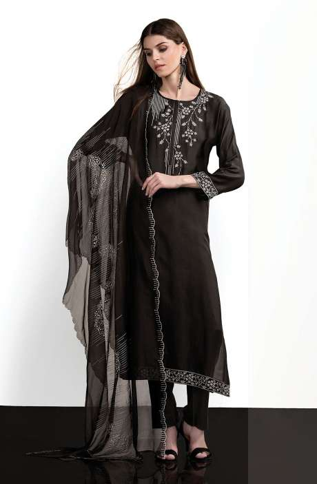 Modal Cotton Designer Semi-stitched Salwar Kameez In Black - SPR-BW1A