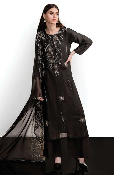 Modal Cotton Designer Semi-stitched Salwar Kameez In Black - SPR-BW1B