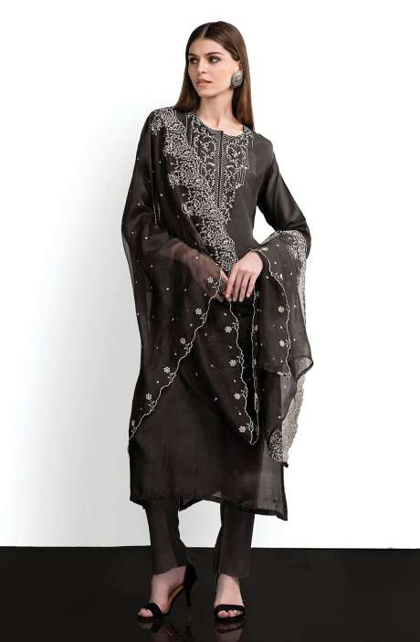 Modal Cotton Designer Semi-stitched Salwar Kameez In Black - SPR-BW1C
