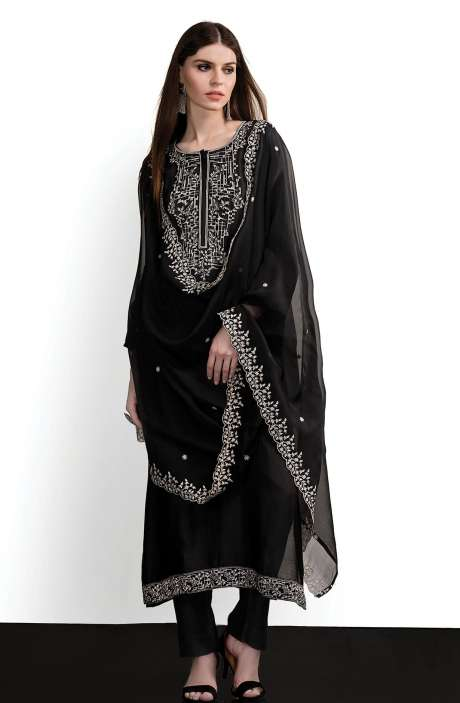 Modal Cotton Designer Semi-stitched Salwar Kameez In Black - SPR-BW1D