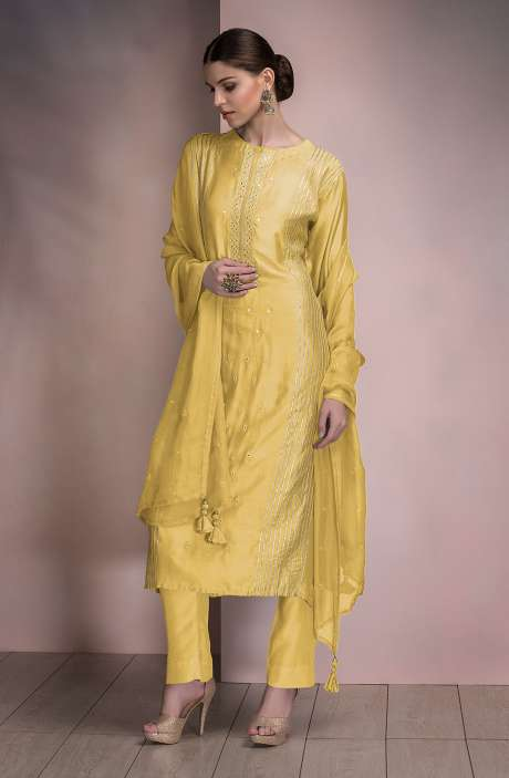 Beautiful Semi-stitched Modal Silk Salwar Kameez In Yellow - SPR-MD1