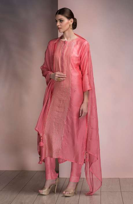 Beautiful Semi-stitched Modal Silk Salwar Kameez In Pink - SPR-MD2