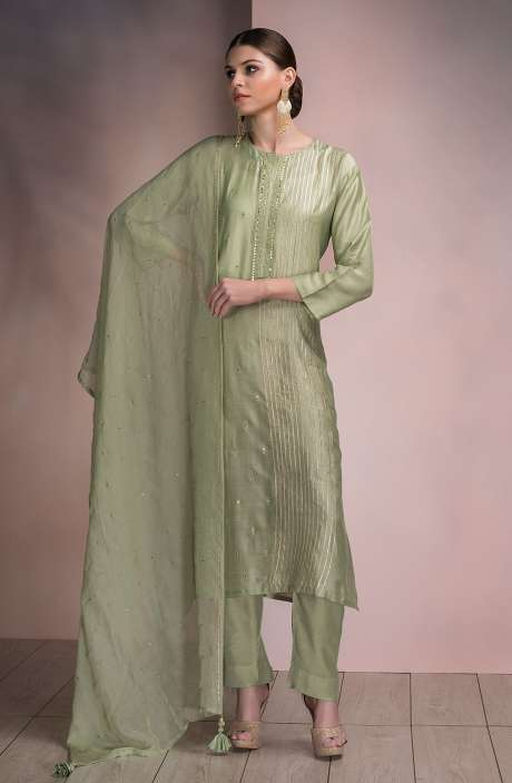 Beautiful Semi-stitched Modal Silk Salwar Kameez In Sea Green - SPR-MD3