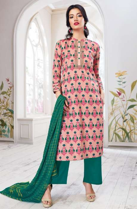 Floral Print with Zari Embroidery Work Cotton Peach and Dark Green Salwar Suit - SPR5437
