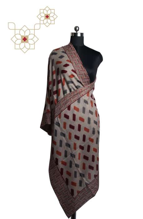 Multicoloured MP Wool Digital Printed Cashmere Stole - STO09874327