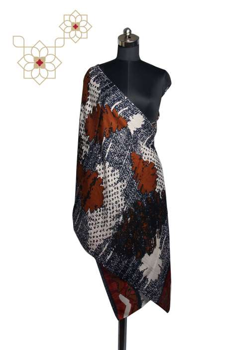 Fine Wool Multicolor Digital Printed Stole - STO09874329