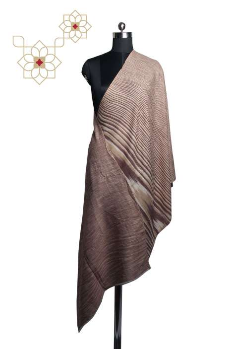 Multicolor Fine Wool Printed Stripes Stole - STO09874354