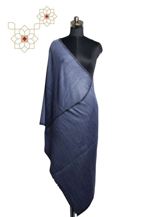 Reversible Digital Printed Blue Fine Woolen Stole - STO09874358