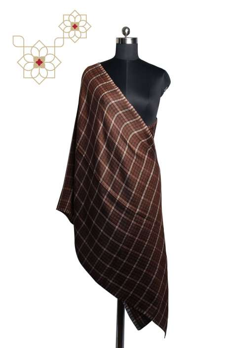 Coffee Brown Woolen Woven Stole - STO09874365