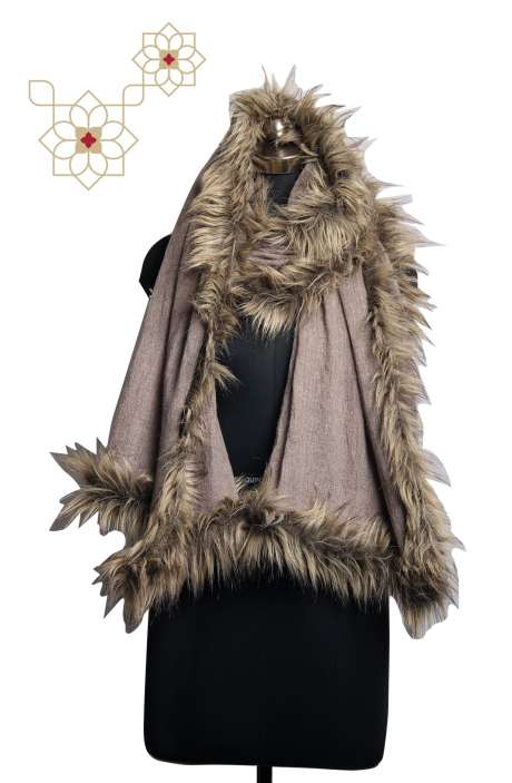 Stylish Woollen Fur Stole In Grey - STO09874474