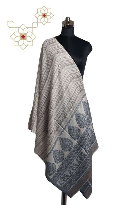 Multicolor Woolen Printed Stripes Woven Stole - STO09876822