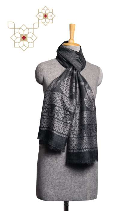 Blackish Grey Woolen Woven Stole - STO09876825