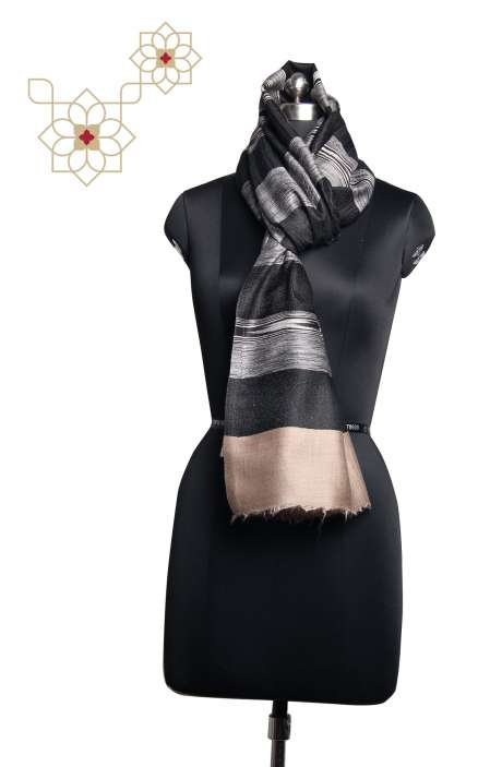 FIne Woolen Printed Stripes Black & White Stole - STO09876835