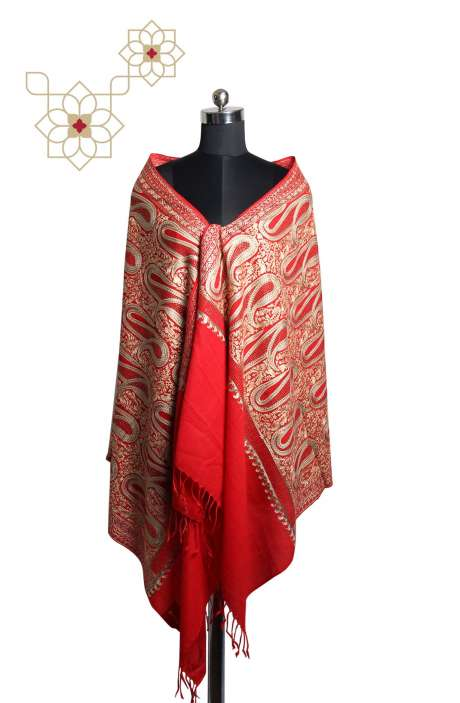 Red Tafta Wool Fancy Embroidered Kashmiri Stole with Swarovski Work - STO09876846