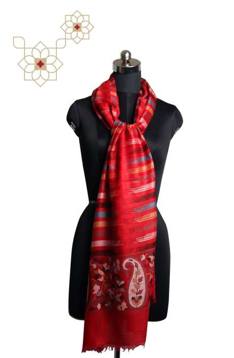 Multicoloured MP Wool Paisley Woven Cashmere Stole - STO09876880
