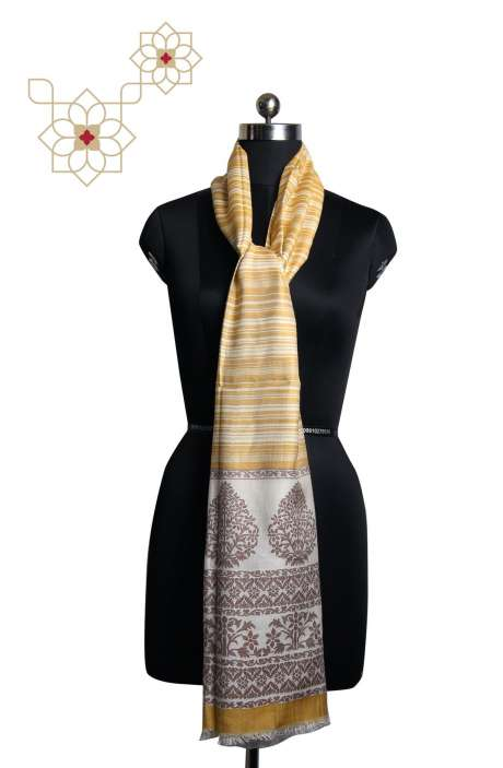 Multicolour Silk Wool Printed Stripes & Woven Kashmiri Stole - STO09876937