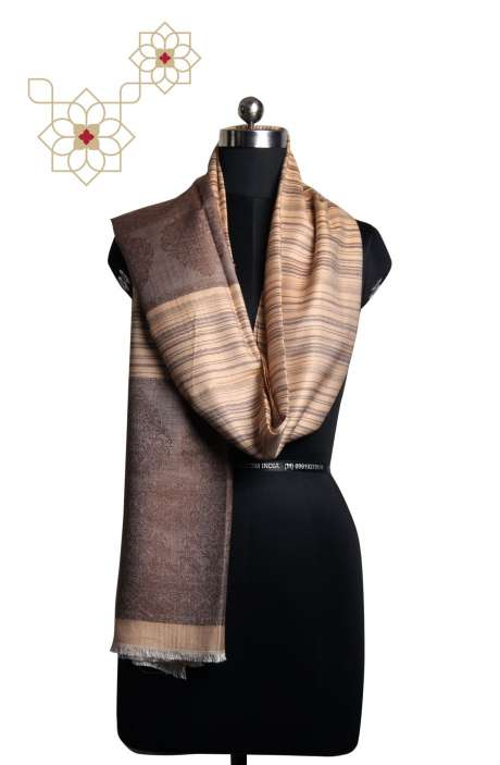 Fawn and Beige Silk Woolen Printed Stripes & Woven Cashmere Stole - STO09876938