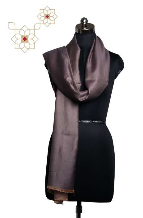Silk Woolen Grey Reversible Shawl - SHA09876944