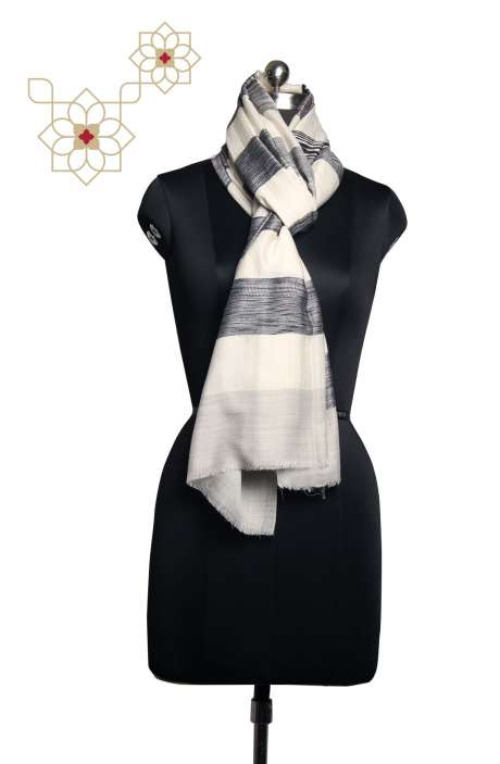 FIne Woolen Printed Stripes Cream & Black Stole - STO09882205