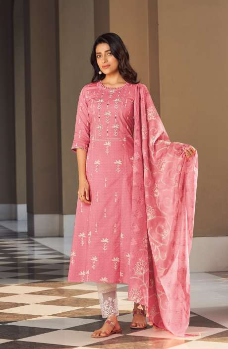 Cotton Block Print Salwar Kameez Dupatta In Pink & Cream - SUH5801