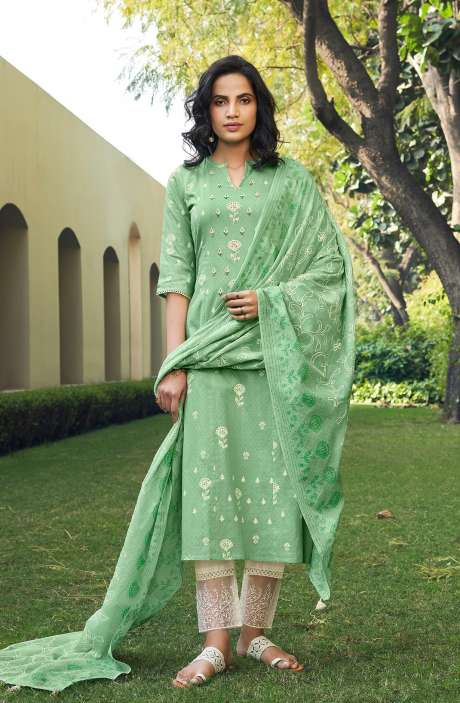 Cotton Block Print Salwar Kameez Dupatta In Sea Green & Cream - SUH5802