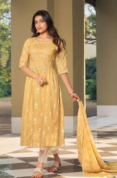 Cotton Block Print Salwar Kameez Dupatta In Yellow & Cream - SUH5805