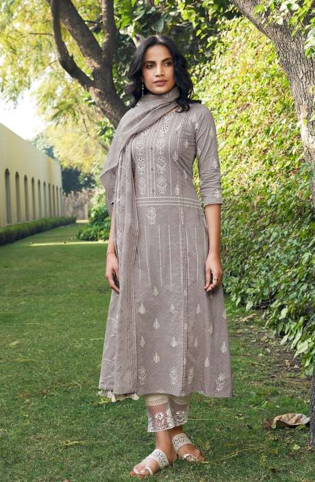 Cotton Block Print Salwar Kameez Dupatta In Grey & Cream - SUH5806