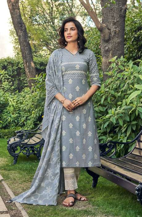Cotton Block Print Salwar Kameez Dupatta In Grey & Cream - SUH5807