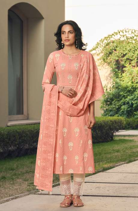 Cotton Block Print Salwar Kameez Dupatta In Peach & Cream - SUH5809