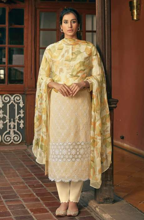 Cotton Beautiful Schiffli Embroidery Salwar Kameez with Chiffon Dupatta - SUM209