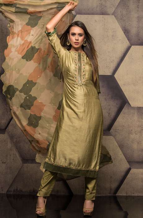 Silk Salwar Kameez with Embroidery & Swarovski Work In Mehndi Green - SUM2301