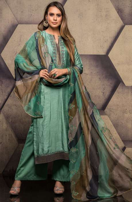 Silk Salwar Kameez with Embroidery & Swarovski Work In Green - SUM2302
