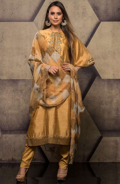 Silk Salwar Kameez with Embroidery & Swarovski Work In Mustard - SUM2303