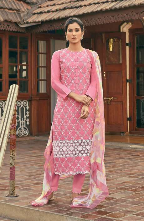 Cotton Beautiful Schiffli Embroidery Salwar Kameez with Chiffon Dupatta - SUM248