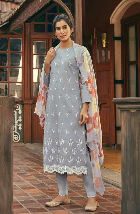 Cotton Beautiful Schiffli Embroidery Salwar Kameez with Chiffon Dupatta - SUM276