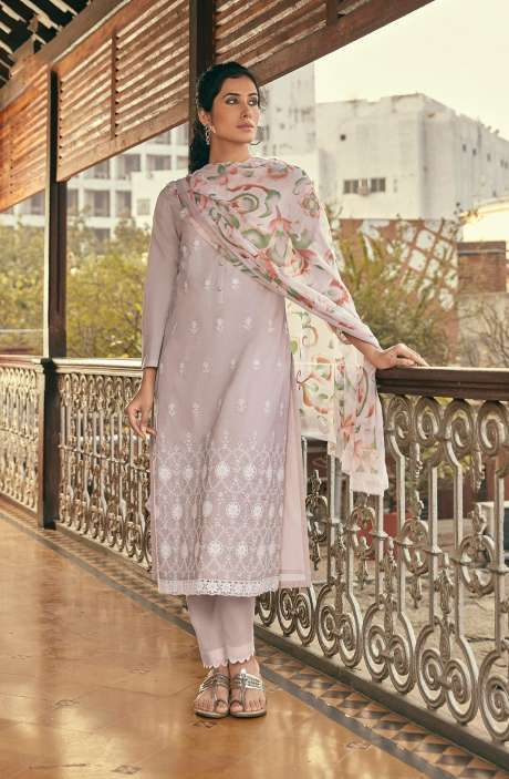 Cotton Beautiful Schiffli Embroidery Salwar Kameez with Chiffon Dupatta - SUM288