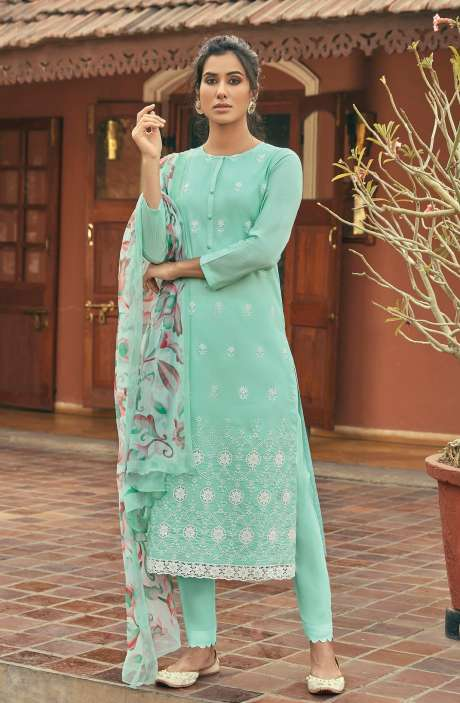 Cotton Beautiful Schiffli Embroidery Salwar Kameez with Chiffon Dupatta - SUM292