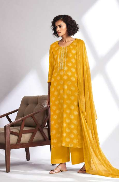 Modal Cotton Digital Printed Unstitched Salwar Suit In Mustard Yellow - SUMC0497