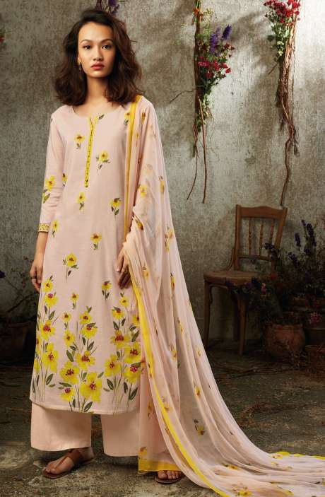 Summer Collection Modal Cotton Digital Printed Suit Sets In Peach - SUN7743