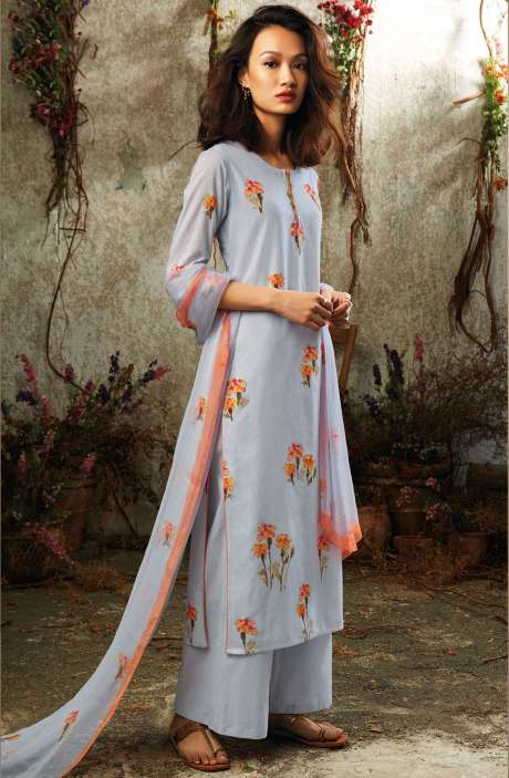 Summer Collection Modal Cotton Digital Printed Suit Sets In Greyish Blue - SUN7745