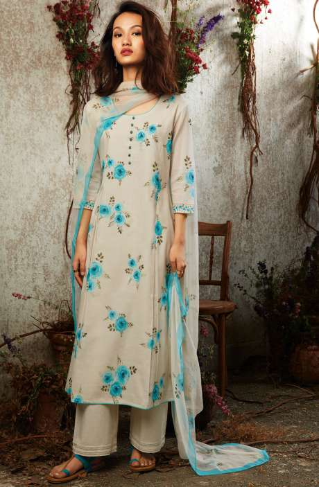 Summer Collection Modal Cotton Digital Printed Suit Sets In Cream & Mint Blue - SUN7748
